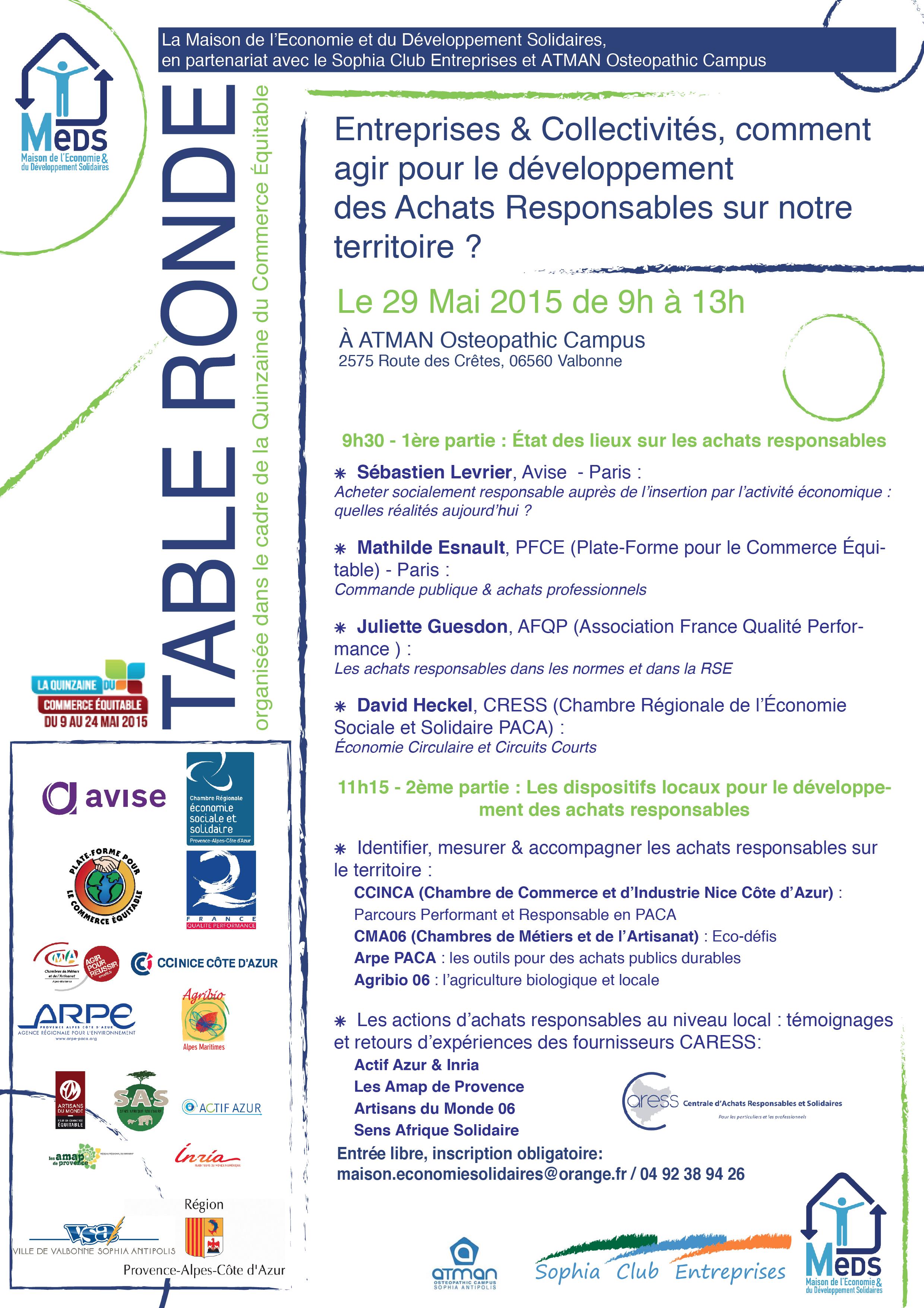 Table Ronde Achats Responsables - 29 mai Sophia Antipolis_MEDS